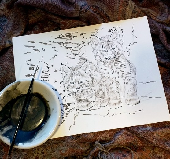 Bobcat Kittens in progress, sepia - 8x10